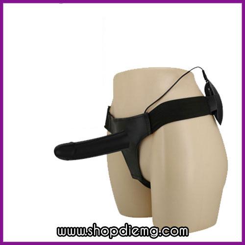 Dương vật giả dây đeo rỗng ruột có rung màu đen cho nam
