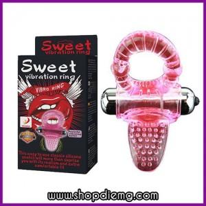 Vòng rung silicon Sweet thay pin hình lưỡi liếm âm đạo