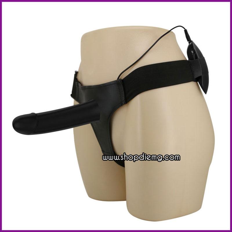 Dương vật giả dây đeo rỗng ruột có rung màu đen cho nam 2