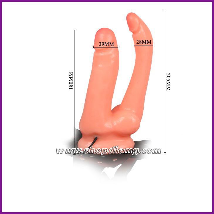 Sextoy les dương vật (cu) giả dây đeo 2 đầu có rung, kích thích âm đạo hậu môn 5