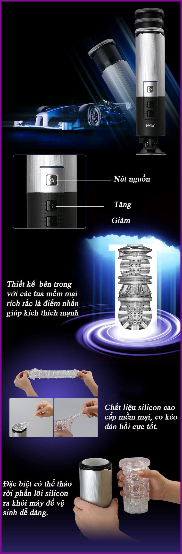 Máy mút cu tự động rung, thụt lên thụt xuống, có đế gắn tường X9 Telecopic